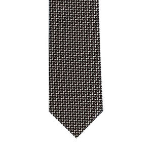 Black and white woven Herringbone Tie